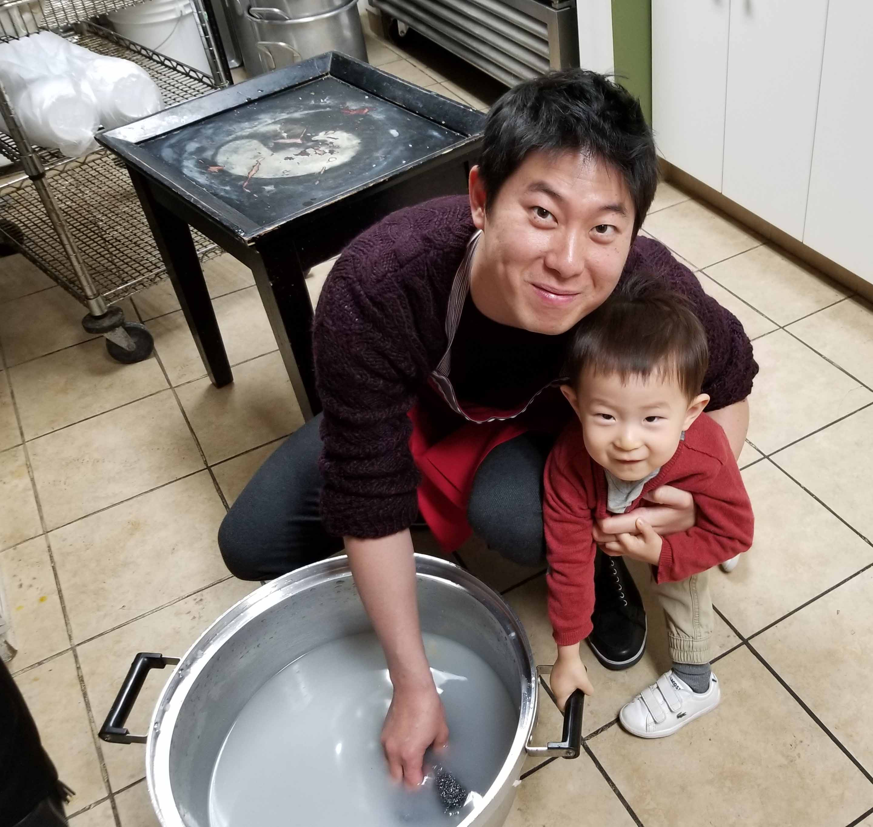 Jion with dad at the kitchen