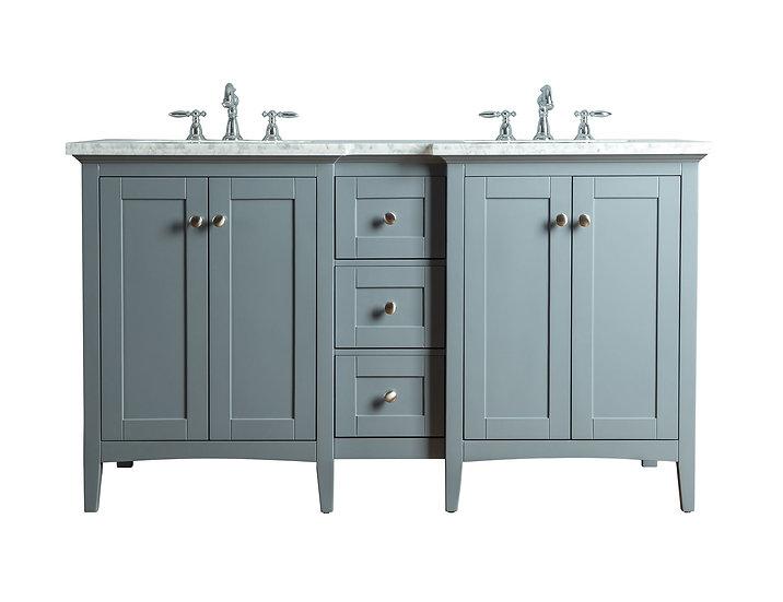 """Tower Modern 60"""" Grey Double Sink Vanity"""