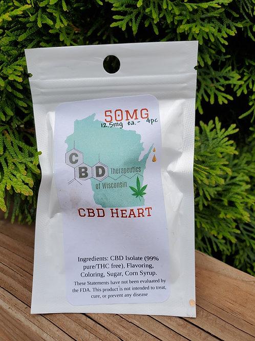 50mg CBD Candy Hearts - 4 Piece