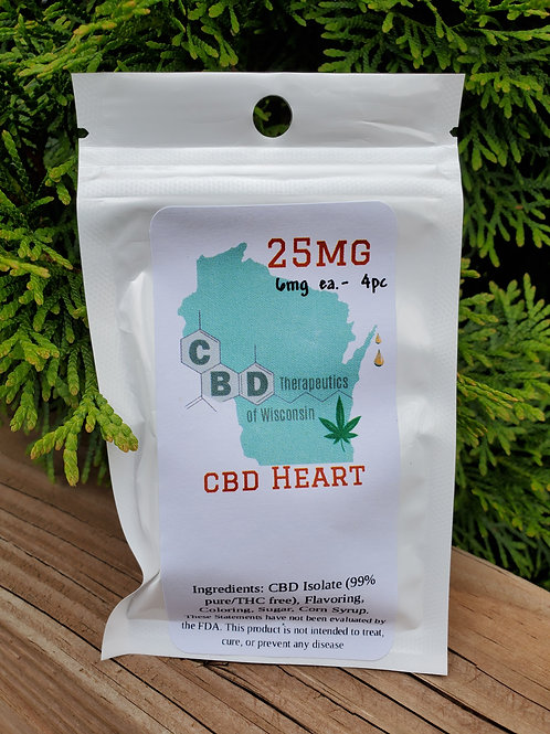 25mg CBD Candy Hearts - 4 Piece