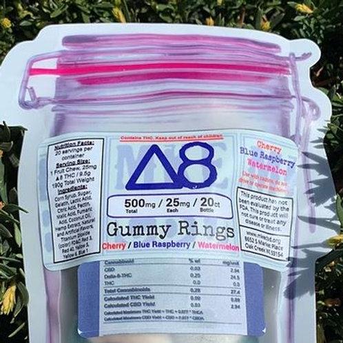 Delta 8 Gummy Rings - 500mg 20 Count Bag