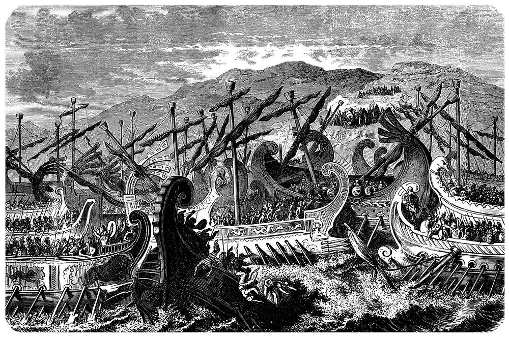 Artist rendition of an ancient Mediterranean naval battle