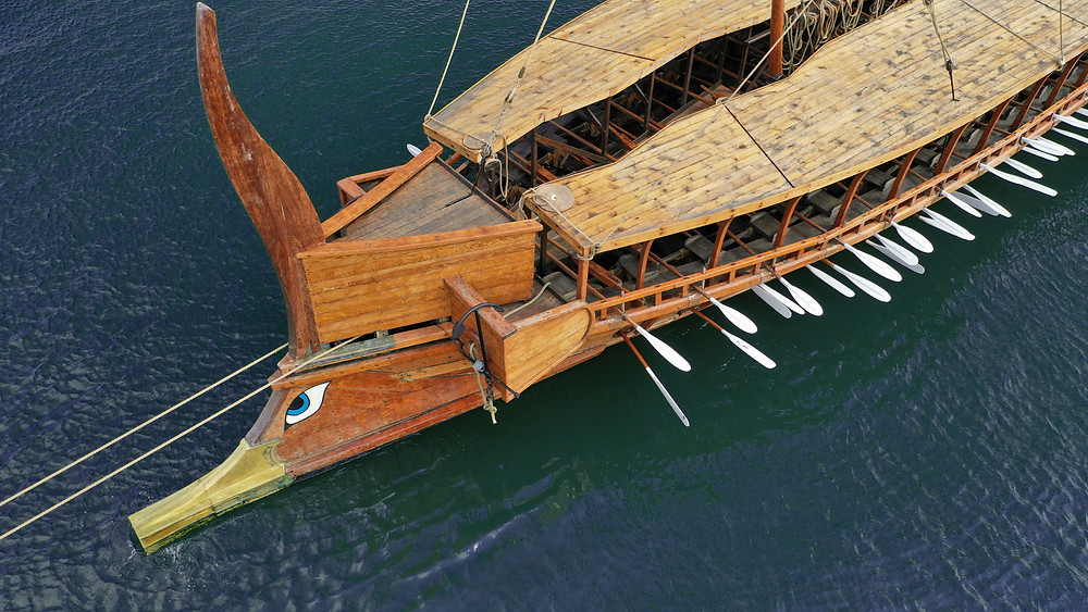 Full scale Greek trireme reconstruction being tested in the Mediterranean