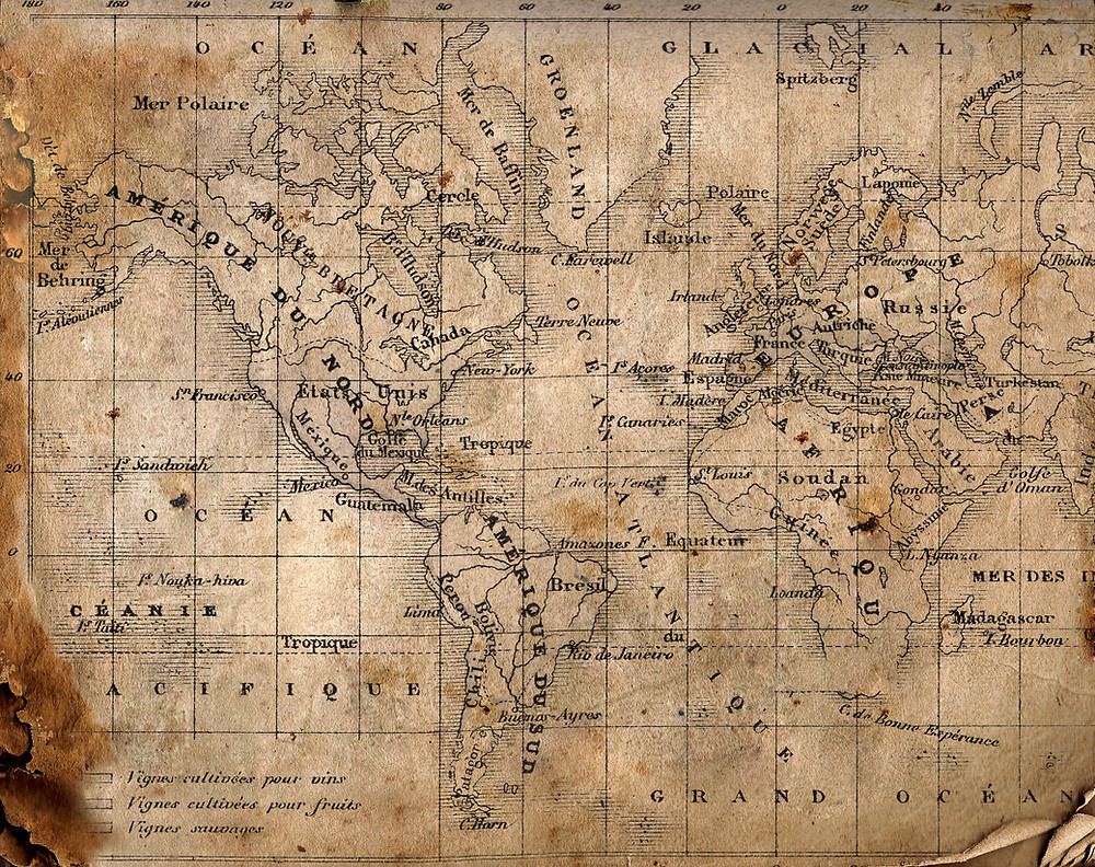 Replica world map from the age of exploration