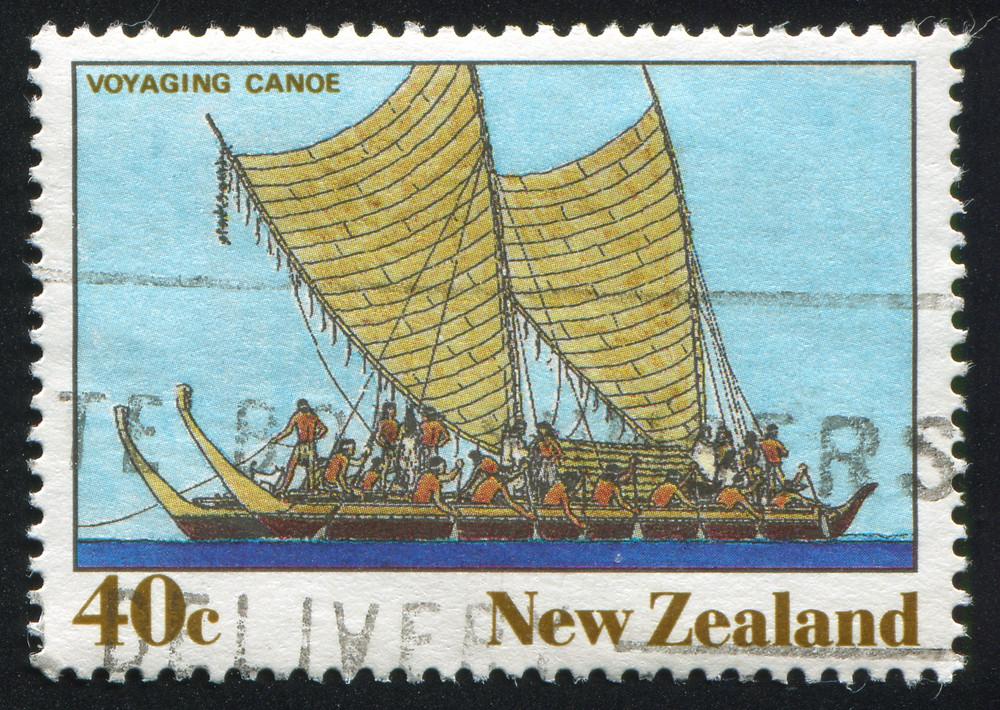 Image of Polynesian voyaging canoe, 40c New Zealand.