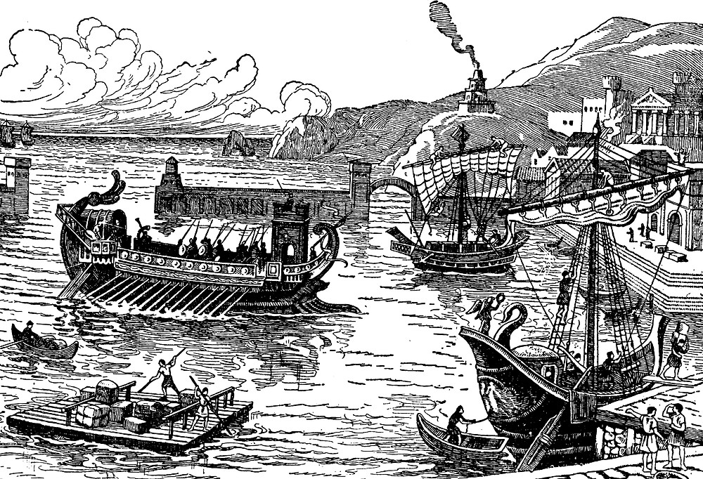 Artist rendition of an ancient harbor on the coast of the Mediterranean Sea