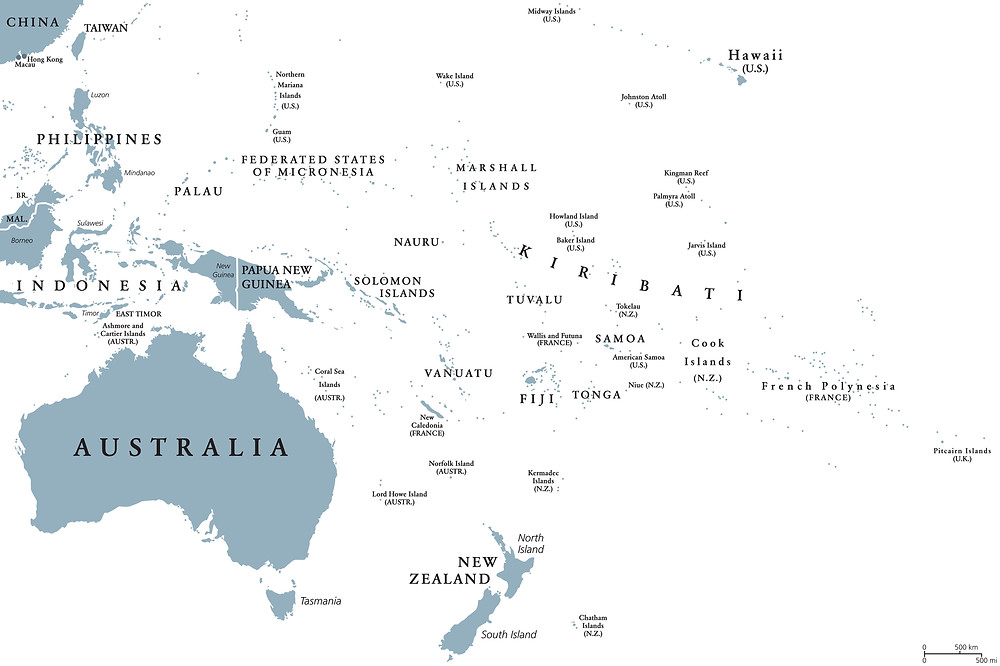 Oceania political map with countries. English labeling. Region, comprising Australia and the Pacific islands with the regions Melanesia, Micronesia and Polynesia.