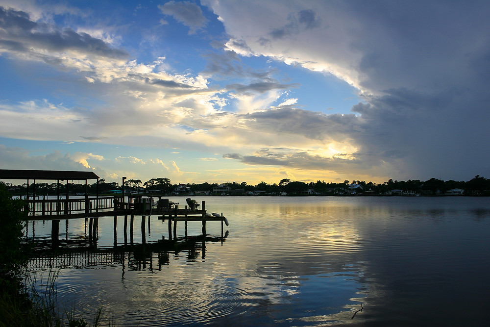 Sunset over Spring Bayou in Tarpon Springs