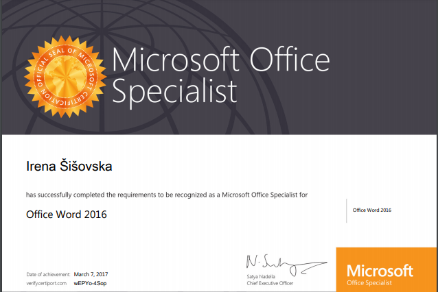Microsoft Office Specialist certifikat