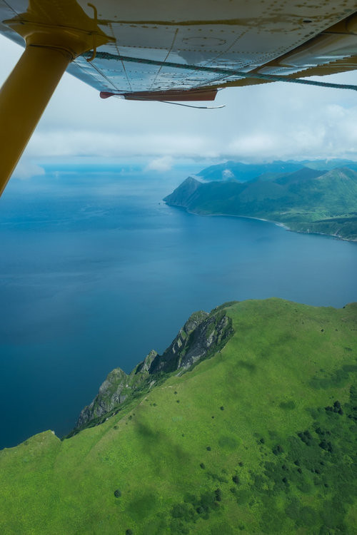 A flightseeing tour of Katmai will absolutely take your breath away. Pictured here is the Katmai Peninsula as seen aboard a flight with Andrews Airways on our way out of the Shelikof Straight.