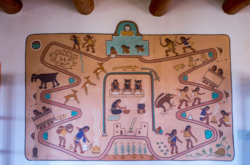 A visual tale of the quest of the Hopi Indians, painted by famed Hopi artist Fred Kapotie.