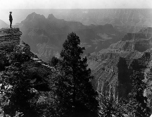 Tourist at Bright Angel Point, c. 1919. Photo credit: Grand Canyon National Park.