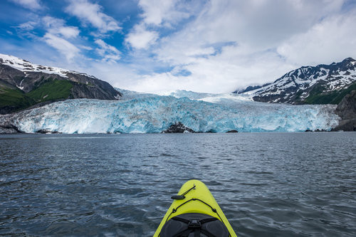 Heading toward the Aialik Glacier on a memorable day paddle that brought us near wildlife, geological formations, and to an active glacier that took our breath away each time it loudly dropped a piece of ice into the bay.