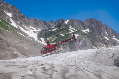 Flightseeing is a very popular way to explore this area, and it is rad! This is our ride with Exit Glacier Guides to the Godwin Glacier.