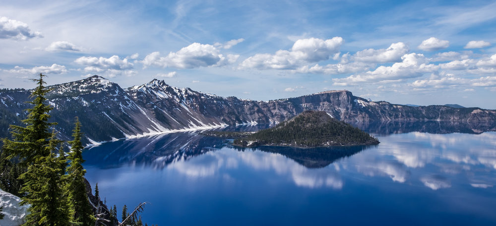 Wizard Island rises from Crater Lake in the national park in southern Oregon.