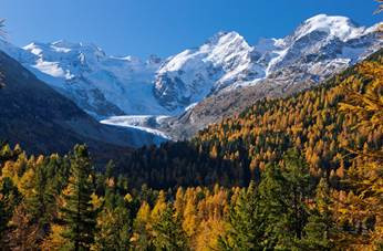 Engadine Valley - autumn with snow-capped peaks