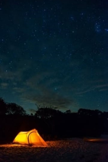 Picnic Key beach camping on a starry night | Credit: Stefanie Payne
