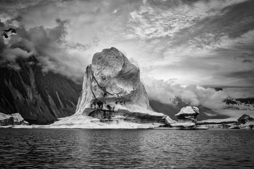 Black and white treatment of a glacier in Kenai Fjords National Park.