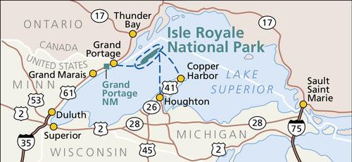 The shape of Lake Superior looks like a wolf; Isle Royale looks like its eye! :)