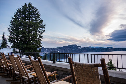 The patio at the Crater Lake Lodge overlooking the gem of the park.