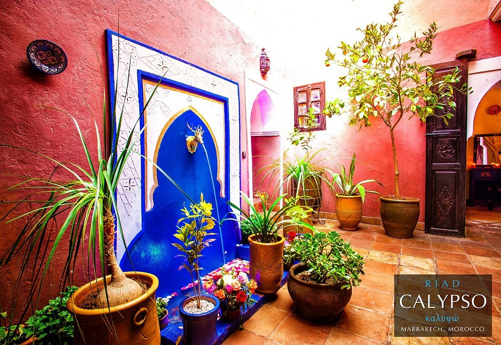 Payne's creation in his new boutique hotel in Marrakech, Morocco: A Moorish fountain with courtyard garden. An installation valued at $100,000 USD.