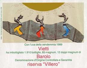 """Wine Label by """"Vietti"""" for their wine """"Barolo"""" (1989) """"Riserva Villero"""""""