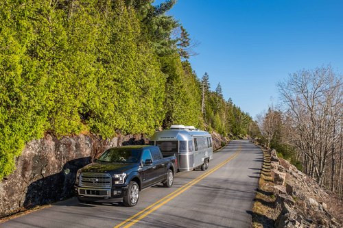 Our home and ride for a week while in Acadia -- the Pendleton Limited Edition Airstream and Limited Edition Ford F-150 tow vehicle pulls us along Park Loop Road.