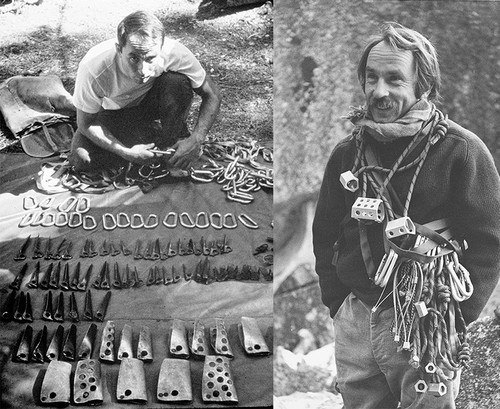 (Left) Yvon Chouinard selling his own hardware invented in Camp 4 at Yosemite National Park, California. C. 1960s. (Right) Chouinard with his rack of Hexentrics and Stopper clean climbing shocks at Yosemite National Park, California. C. 1972. | Photos courtesy of Patagonia archives