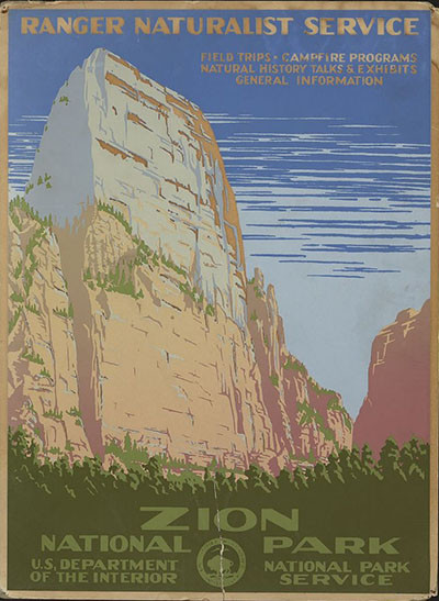 Zion National Park poster art circa 1938. Courtesy Library of Congress.