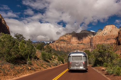 Wally the Airstream took several long wanders along the Zion-Mt. Carmel Highway. To go through the tunnel, we had to force one-lane traffic... apparently this is common in the park -- the rangers had the exercise down to a science.