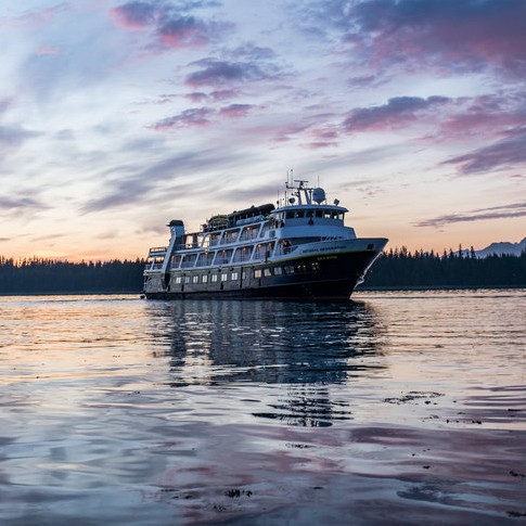 The National Geographic Sea Lion docked in Bartlett Cove in the heart of Glacier Bay. NatGeo provides an 8-day cruise from Seattle through the Inside Passage and into Glacier Bay (and elsewhere) bringing you into the fold of Glacier Bay's wildlife and dynamic glaciers.
