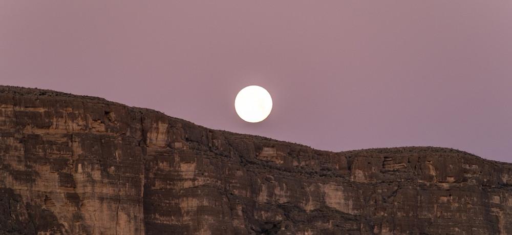 Moonset over Big Bend National Park.
