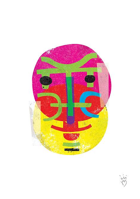 Ilustração Carranca Amarelo Rosa