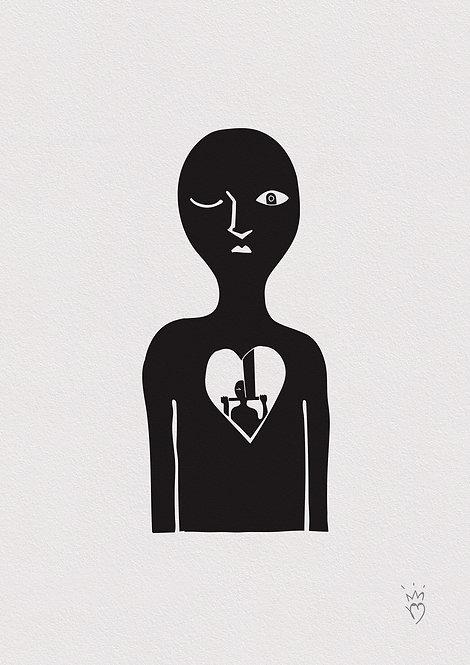 Ilustração Homem Coração Periscópio