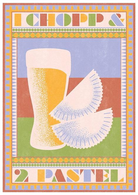 Ilustração 1 Chopp e 2 Pastel