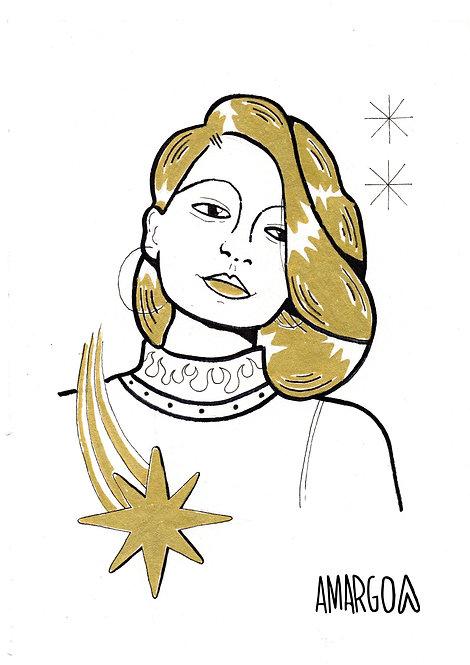 Ilustração Mulher Dourado