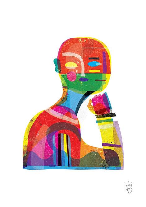 Ilustração Homem Cor Perfil e Frente