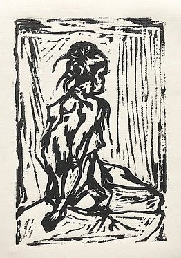 'The Rock' Original Lino Print