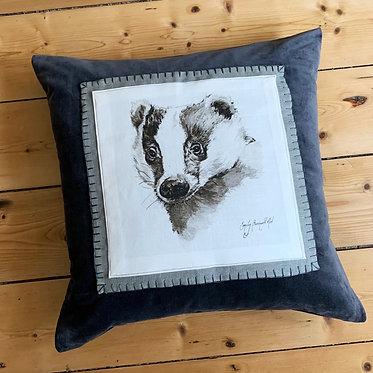 Badger linen cushion