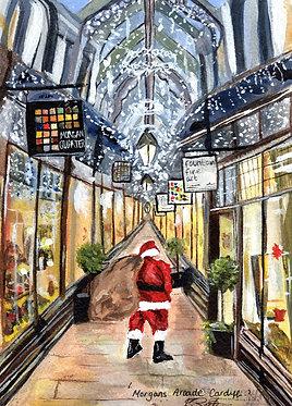 Santa in Morgans Arcade (Pack of 10 Christmas Cards)