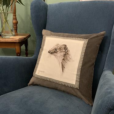 Stoat velvet cushion