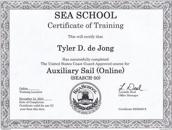 Sea School certificate