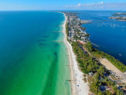 Aerial view of Anna Maria in Florida.