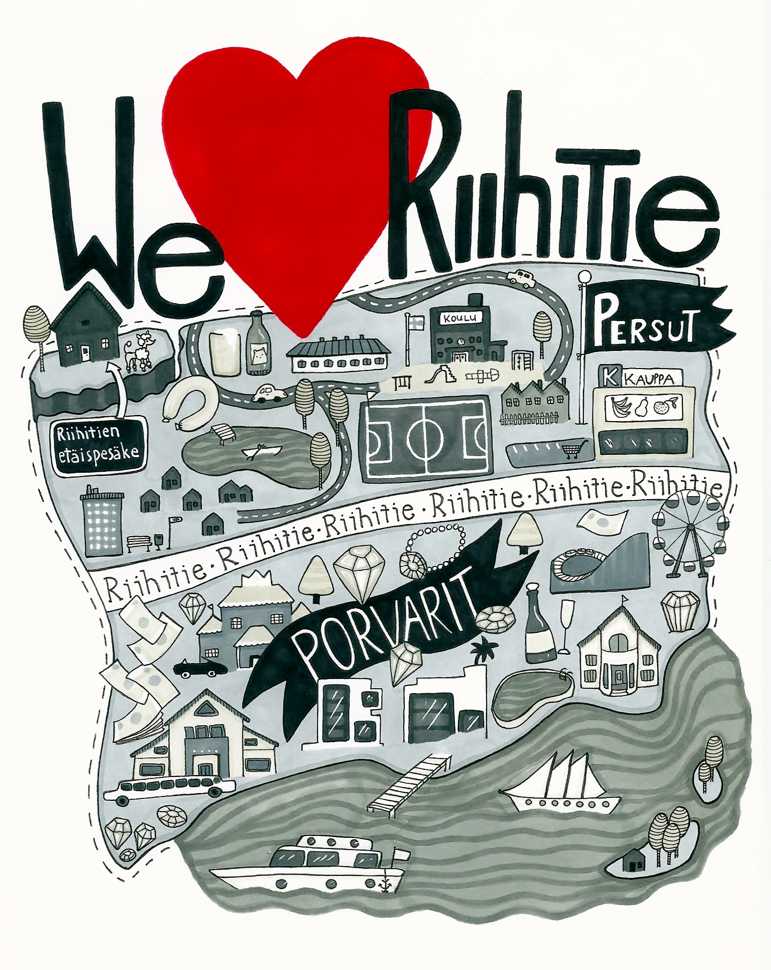 We love Riihitie-juliste