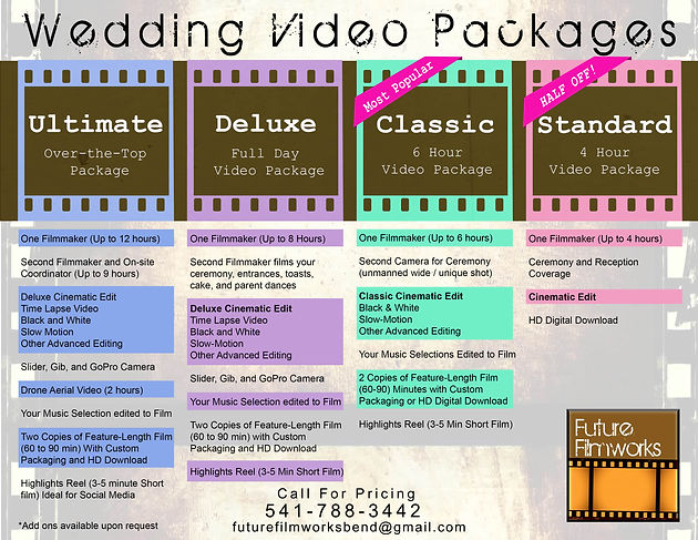 Wedding video packages availalbe from Future Filmworks
