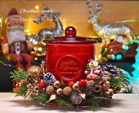 聖誕花環X大豆蠟燭工作坊 - B款 (歡樂紅色為主調)