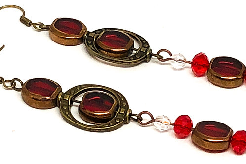 Red Bronze Earring Connector Red Dangle Earrings