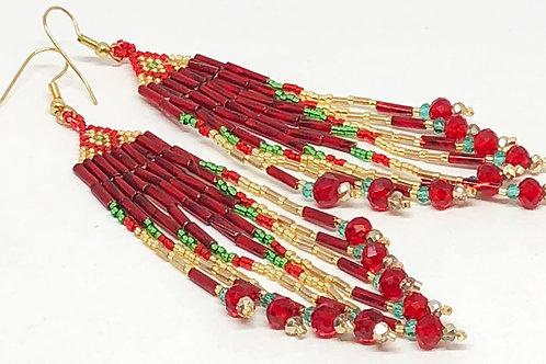 Red Green Gold Diamond Fringe Earrings
