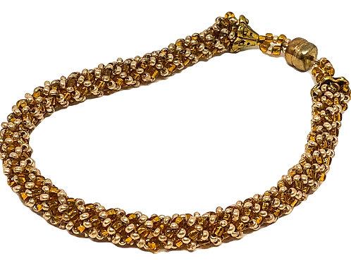 Bronze Gold Russian Spiral Beadweaving Bracelet