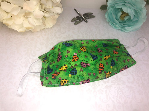 Ladybug Child Size Face Covering With Elastic